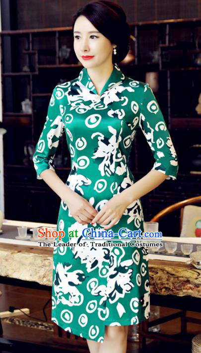 Chinese National Costume Handmade Printing Green Qipao Dress Traditional Tang Suit Cheongsam for Women