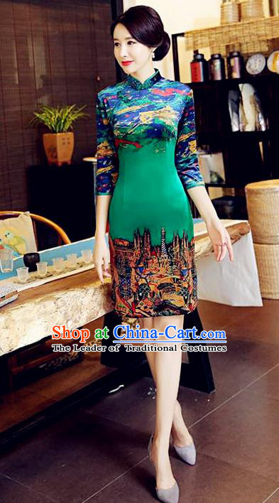 Chinese National Costume Handmade Tang Suit Green Qipao Dress Traditional Velvet Cheongsam for Women