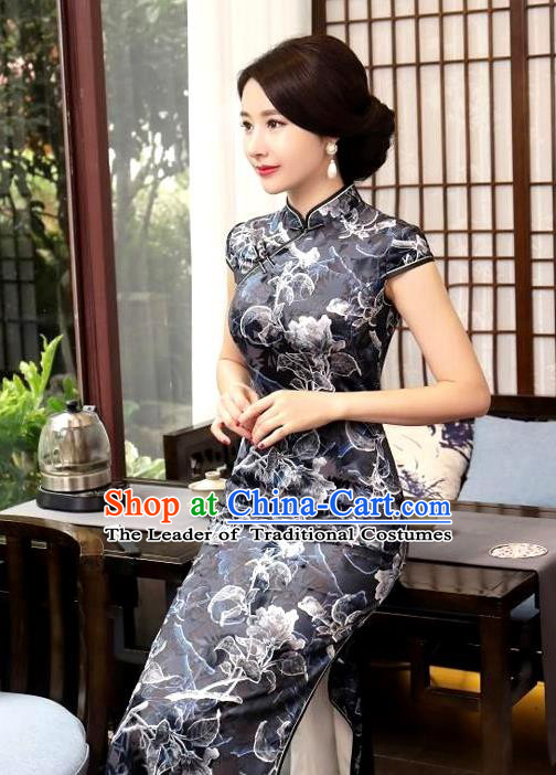 Chinese National Costume Handmade Tang Suit Black Qipao Dress Traditional Printing Flower Cheongsam for Women