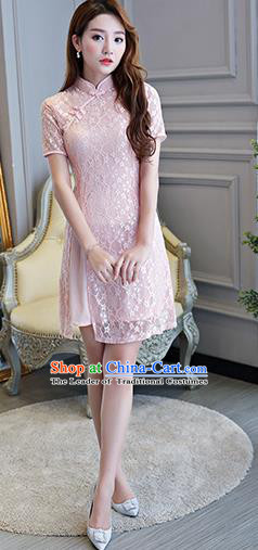 Chinese National Costume Tang Suit Pink Lace Qipao Dress Traditional Cheongsam for Women