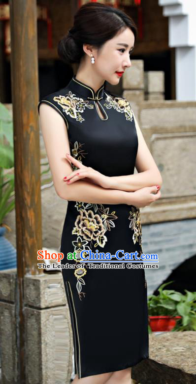 Chinese National Costume Tang Suit Black Silk Qipao Dress Traditional Embroidered Chrysanthemum Cheongsam for Women