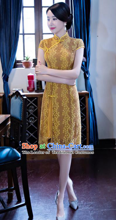 Chinese National Costume Retro Yellow Lace Qipao Dress Traditional Republic of China Tang Suit Cheongsam for Women