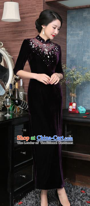 Chinese National Costume Retro Qipao Dress Traditional Republic of China Tang Suit Purple Velvet Cheongsam for Women
