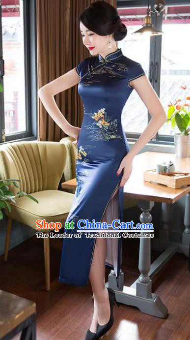 Chinese National Costume Tang Suit Qipao Dress Traditional Republic of China Navy Silk Cheongsam for Women
