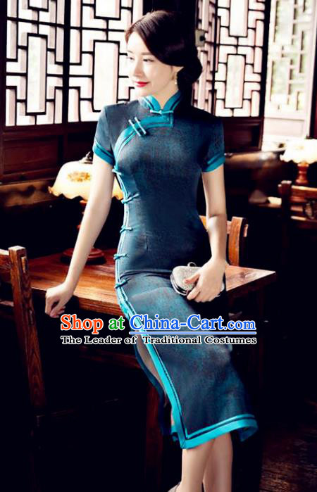 Chinese National Costume Tang Suit Qipao Dress Traditional Republic of China Peacock Green Cheongsam for Women