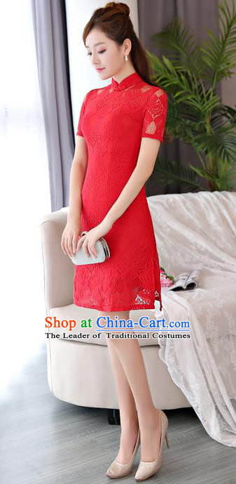 Chinese National Costume Tang Suit Red Lace Qipao Dress Traditional Republic of China Cheongsam for Women