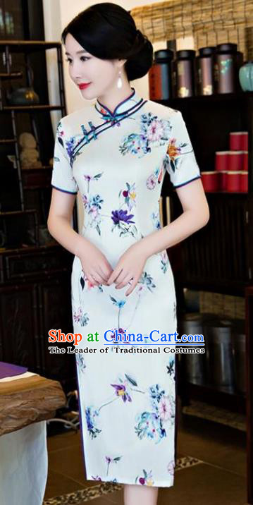 Chinese National Costume Tang Suit Qipao Dress Traditional Republic of China Printing Short Cheongsam for Women