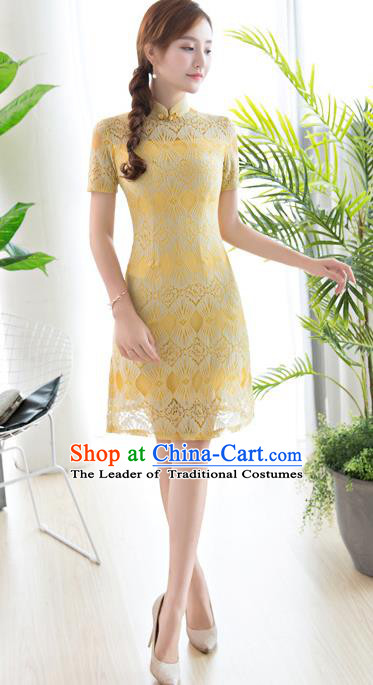 Chinese National Costume Tang Suit Yellow Lace Qipao Dress Traditional Republic of China Cheongsam for Women