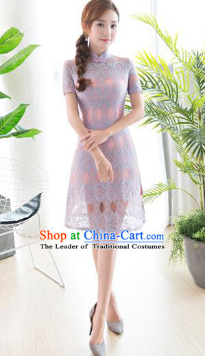Chinese National Costume Tang Suit Lilac Lace Qipao Dress Traditional Republic of China Cheongsam for Women