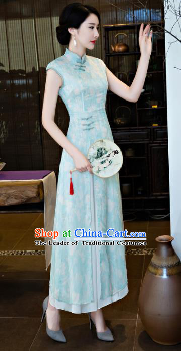 Chinese National Costume Tang Suit Qipao Dress Traditional Republic of China Blue Cheongsam for Women