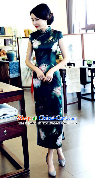 Chinese National Costume Tang Suit Qipao Dress Traditional Republic of China Atrovirens Cheongsam for Women
