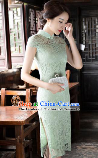 Chinese National Costume Tang Suit Qipao Dress Traditional Republic of China Light Green Cheongsam for Women