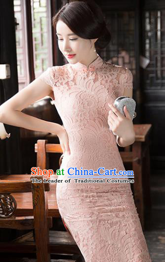 Chinese National Costume Tang Suit Qipao Dress Traditional Republic of China Pink Lace Cheongsam for Women