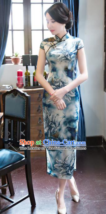 Chinese National Costume Retro Printing Blue Silk Qipao Dress Traditional Republic of China Tang Suit Cheongsam for Women