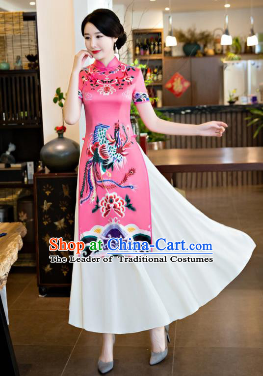 Chinese National Costume Retro Printing Phoenix Peony Pink Qipao Dress Traditional Republic of China Tang Suit Cheongsam for Women