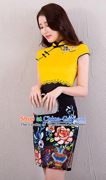 Chinese Top Grade Retro Yellow Satin Qipao Dress Traditional Republic of China Tang Suit Printing Cheongsam for Women