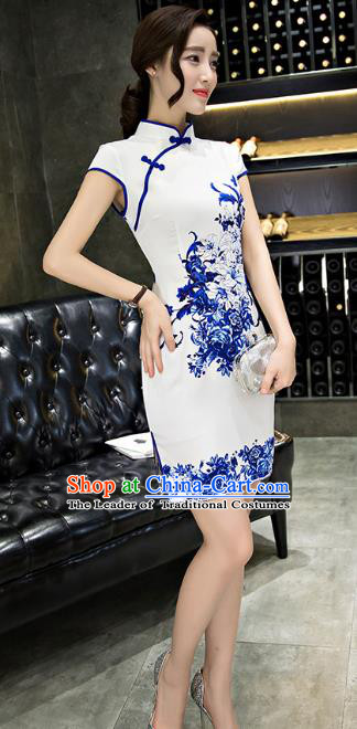 Chinese Top Grade Retro Printing Flowers Qipao Dress Traditional Republic of China Tang Suit Cheongsam for Women