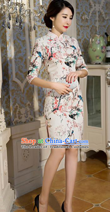 Chinese Top Grade Retro Printing Plum Blossom Short Qipao Dress Traditional Republic of China Tang Suit Cheongsam for Women