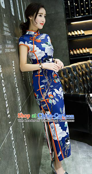 Chinese Top Grade Retro Printing Flowers Royalblue Qipao Dress Traditional Republic of China Tang Suit Cheongsam for Women
