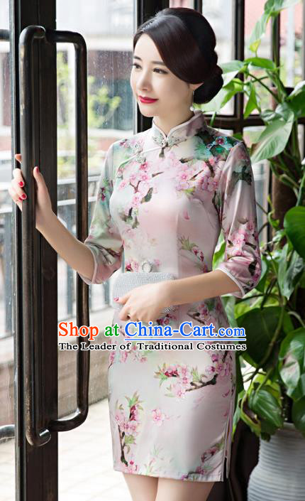 Chinese Top Grade Retro Printing Peach Blossom Qipao Dress Traditional Republic of China Tang Suit Cheongsam for Women