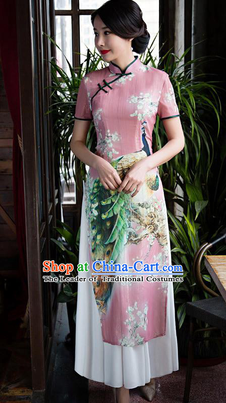 Chinese Top Grade Retro Printing Peacock Pink Qipao Dress Traditional Republic of China Tang Suit Cheongsam for Women