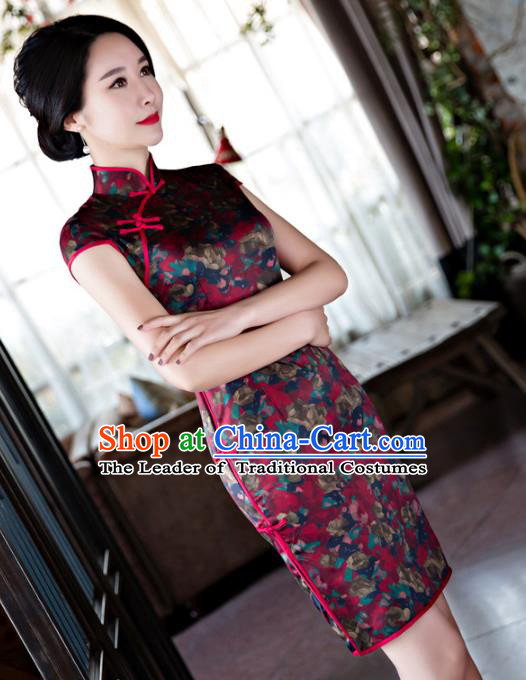 Chinese Top Grade Retro Watered Gauze Qipao Dress Traditional Republic of China Tang Suit Cheongsam for Women
