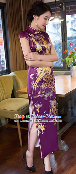 Chinese Top Grade Retro Printing Purple Qipao Dress Traditional Republic of China Tang Suit Cheongsam for Women