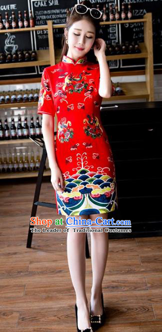 Chinese Top Grade Retro Red Qipao Dress Traditional Republic of China Tang Suit Short Cheongsam for Women