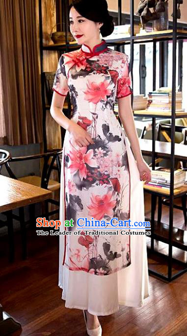 Chinese Top Grade Elegant Ink Painting Lotus Qipao Dress Traditional Republic of China Tang Suit Pink Cheongsam for Women