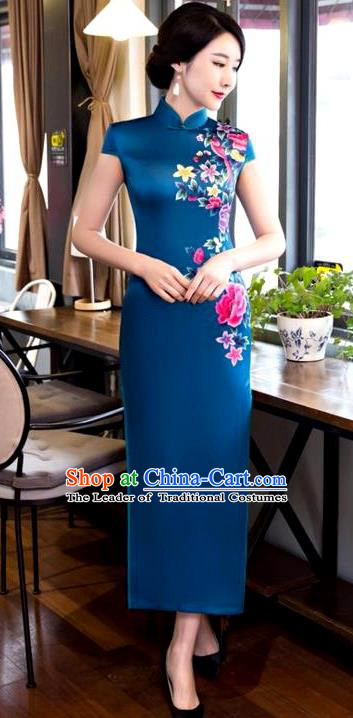 Chinese Top Grade Elegant Printing Peony Flowers Peacock Blue Silk Qipao Dress Traditional Republic of China Tang Suit Cheongsam for Women