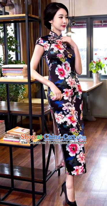 Chinese Top Grade Elegant Printing Peony Flowers Black Silk Qipao Dress Traditional Republic of China Tang Suit Cheongsam for Women