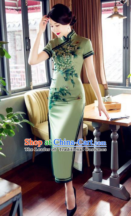 Top Grade Chinese Elegant Printing Peony Green Cheongsam Traditional Republic of China Tang Suit Silk Qipao Dress for Women