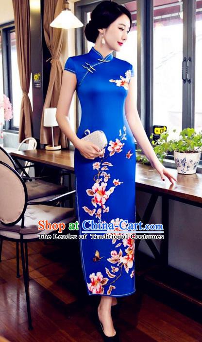 Top Grade Chinese Elegant Printing Flowers Blue Cheongsam Traditional Republic of China Tang Suit Silk Qipao Dress for Women