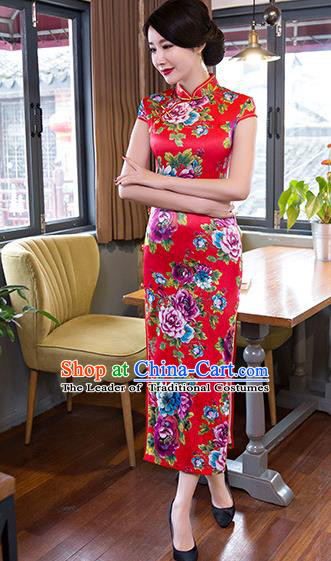 Top Grade Chinese Elegant Printing Flowers Red Cheongsam Traditional Republic of China Tang Suit Silk Qipao Dress for Women