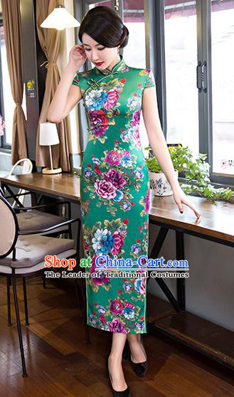 Top Grade Chinese Elegant Printing Flowers Green Cheongsam Traditional Republic of China Tang Suit Silk Qipao Dress for Women
