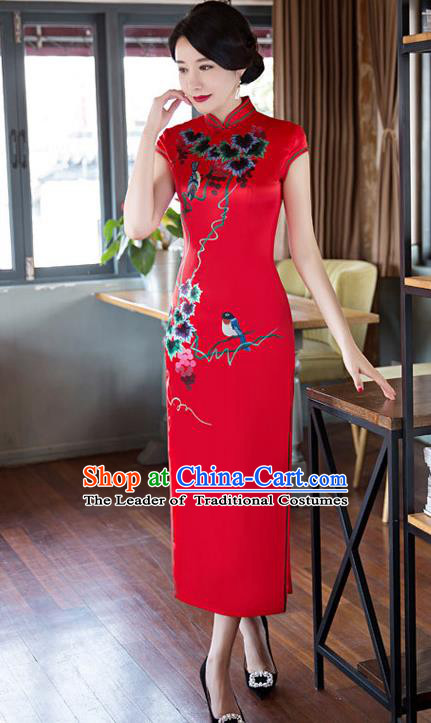 Top Grade Chinese Elegant Cheongsam Traditional China Tang Suit Printing Red Silk Qipao Dress for Women