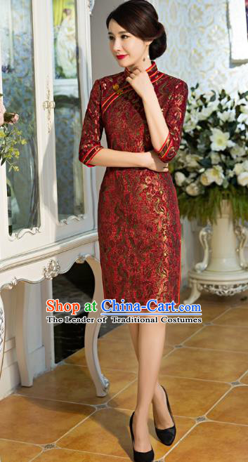 Top Grade Chinese Elegant Cheongsam Traditional China Tang Suit Purplish Red Qipao Dress for Women