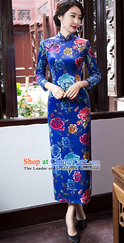 Top Grade Chinese Elegant Blue Cheongsam Traditional China Tang Suit Printing Peony Qipao Dress for Women