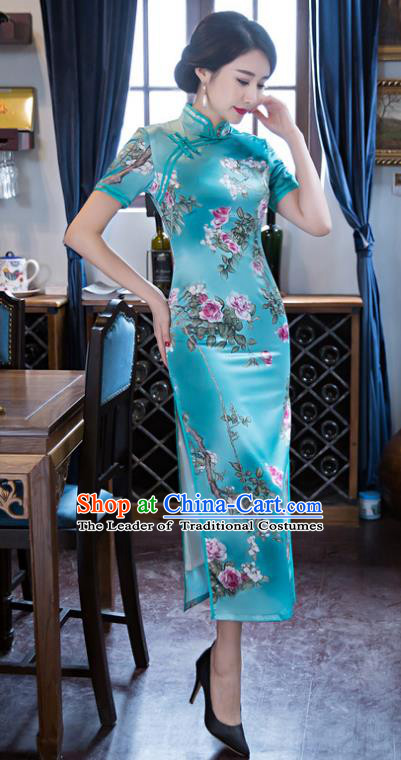 Top Grade Chinese Elegant Printing Flowers Green Silk Cheongsam Traditional China Tang Suit Qipao Dress for Women