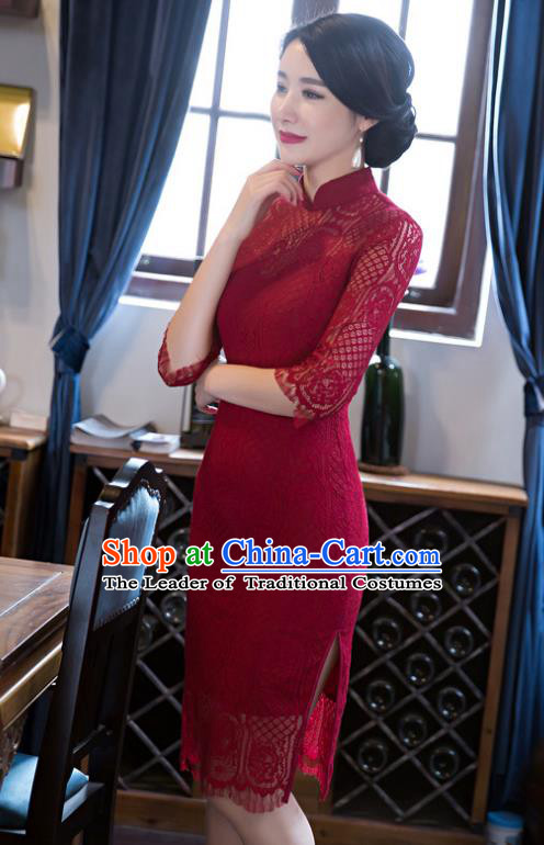 Top Grade Chinese Elegant Short Cheongsam Traditional China Tang Suit Red Lace Qipao Dress for Women