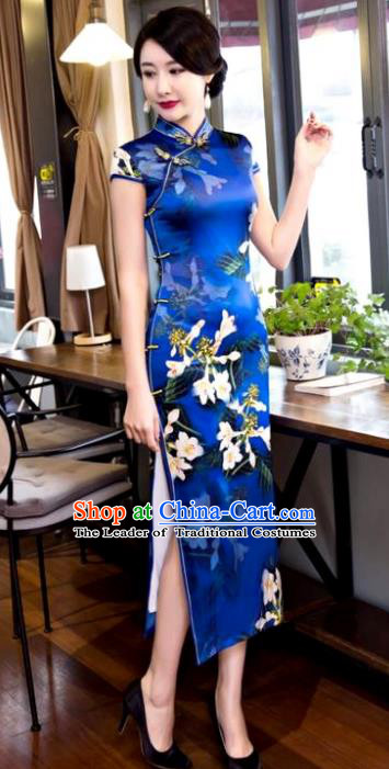 Chinese Top Grade Elegant Printing Petunia Blue Silk Qipao Dress Traditional Republic of China Tang Suit Cheongsam for Women
