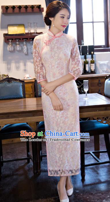Chinese Top Grade Elegant Embroidered Qipao Dress Traditional Republic of China Tang Suit Cheongsam for Women