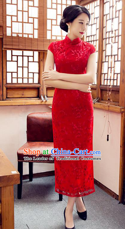 Chinese Top Grade Elegant Embroidered Qipao Dress Traditional Republic of China Tang Suit Red Cheongsam for Women