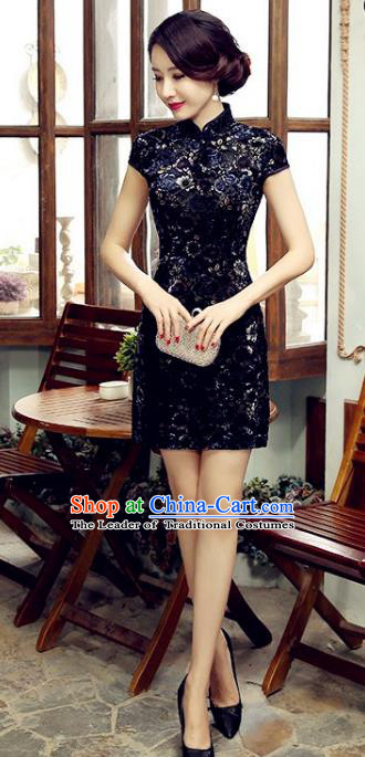 Chinese Top Grade Elegant Navy Cheongsam Traditional Republic of China Tang Suit Qipao Dress for Women