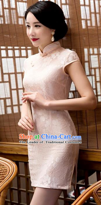 Chinese Top Grade Elegant Pink Lace Short Qipao Dress Traditional Republic of China Tang Suit Cheongsam for Women
