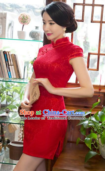 Chinese Top Grade Elegant Red Lace Short Qipao Dress Traditional Republic of China Tang Suit Cheongsam for Women