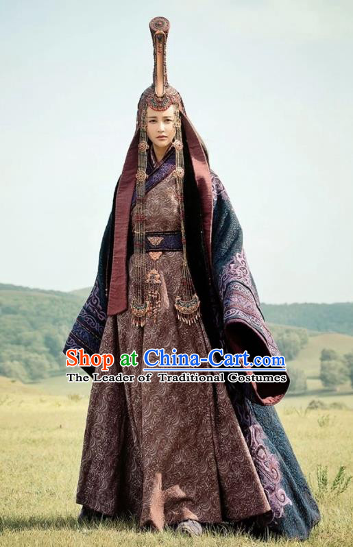 Chinese Ancient Tang Dynasty Princess Jieyou Embroidered Replica Costumes and Headpiece Complete Set