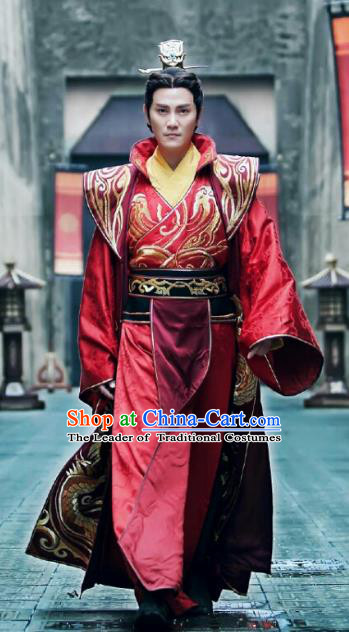 Phoenix Warriors Chinese Ancient Northern and Southern Dynasties Emperor Embroidered Replica Costume for Men