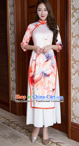 Top Grade Chinese Elegant Ink Painting Lotus Pink Cheongsam Traditional China Tang Suit Qipao Dress for Women