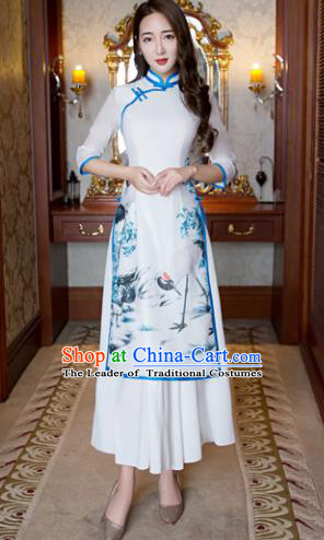 Top Grade Chinese Elegant Printing Blue Cheongsam Traditional China Tang Suit Qipao Dress for Women